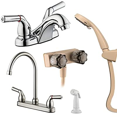 PIH RV Faucet Gift Package w/ Two Handle High Arc Swivel Kitchen Faucet, Lavatory Bathroom Faucet, and Showering Faucet Unit, Polish Chrome by PIH
