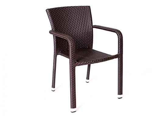 Dreams4Home Stapelsessel 'Yoko' Rattan beige grau braun Stapelstuhl stapelbar Gartenstuhl Stuhl Sessel, Farbe:Braun