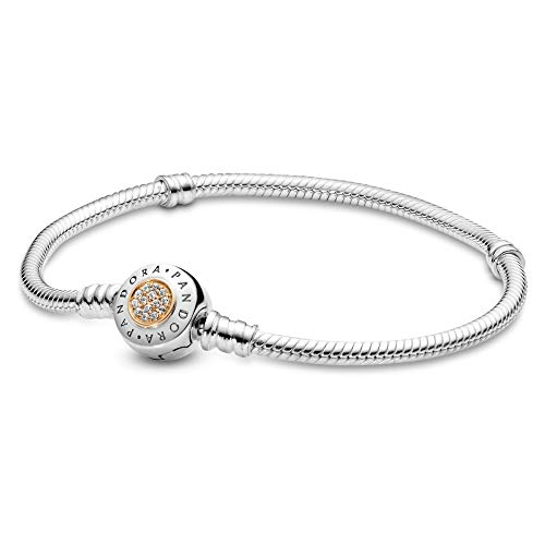 PANDORA Jewelry Moments Charm Cubic Zirconia Bracelet in Sterling Silver and 14K Yellow Gold, 7.9""