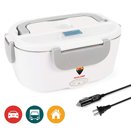 Travelisimo Electric Lunch Box 2 in 1 for Car/Truck and Work 110V & 12V 40W, Stainless Steel Portable Food Warmer Heater 1.5L, Spoon and 2 Compartments Included