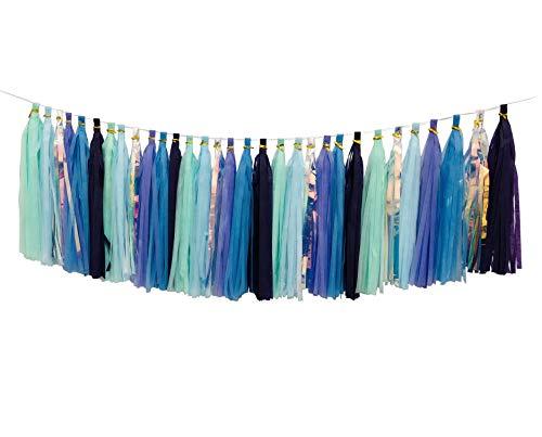 Mermaid Tassels Garland Tissue Paper Tassels Banner DIY Kit Mermaid Party Decorations (Pack of 30, Purple-Lavender-Mint-Blue-Rainbow)