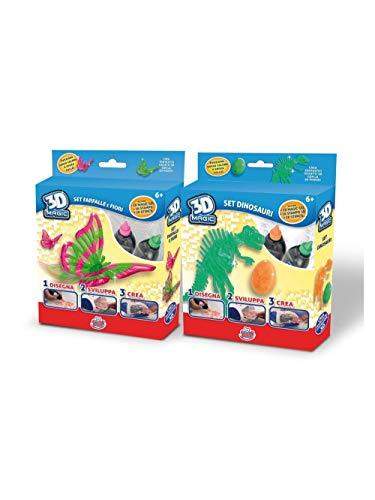 Grandi Giochi GG00149 Set 3D Maker Crea, motivo Farfalla e fiori o Dinosauri, 1 pezzo, modello assortito