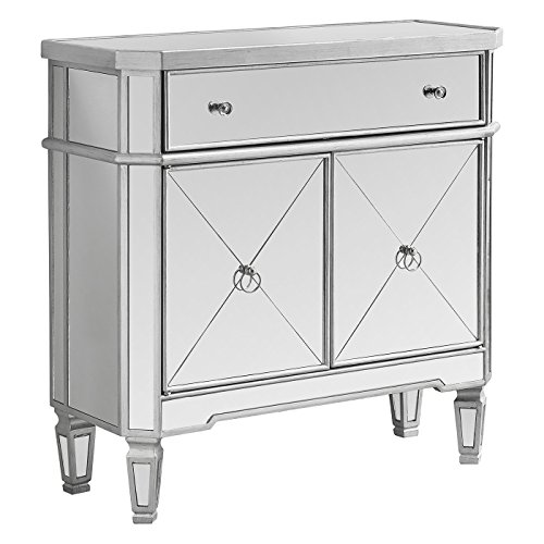 Monarch Specialties Mirrored Accent Chest, Brushed Silver Frame, 32' L