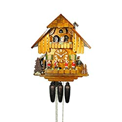 August Schwer Cuckoo Clock Big Black Forest House with Mill Wheel, Music and Dancers