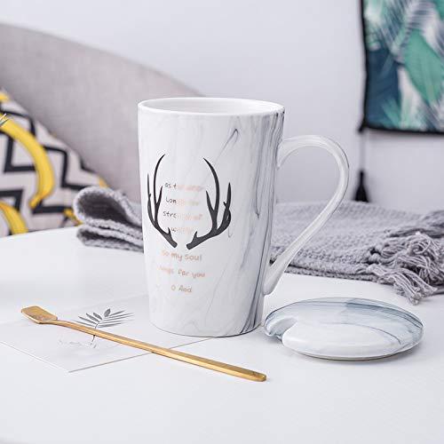 Heliansheng Taza Simple de Oficina Creativa de Pareja con Tapa Taza de cerámica para el hogar de Estudiantes de Dibujos Animados para Damas -D19-B17-G480