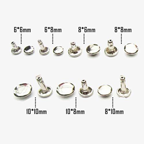 50X 6 mm 8 mm 10 mm metalen dubbele kap kant ronde Rapid lederen riem portemonnee tas schoen kleding decoratieve DIY nailhead spike Stud 8x8mm zilver, geen gereedschap.