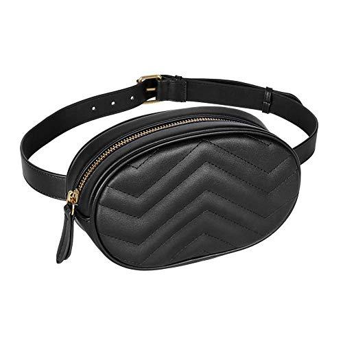 Wu5dra Damen Umhängetasche wasserdichte Umhängetasche aus PU-Leder Umhängetasche, geeignet für Partys, Reisen, Wandermode Mini Brusttasche (schwarz)
