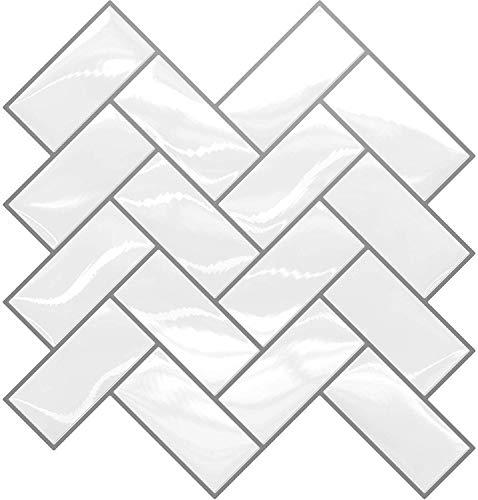 Adhesivo para azulejos para quitar y pegar, 30 x 30 cm, papel pintado para baño y cocina, 3D, resistente al agua, decoración para azulejos, armarios, muebles, mesas, (5 unidades, diseño de espiga)
