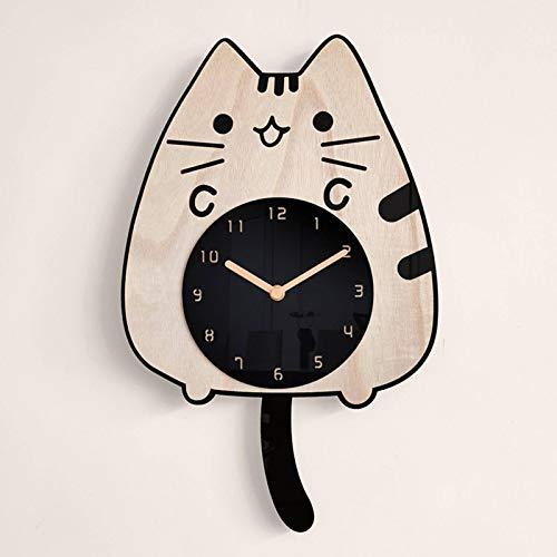 N-brand Reloj de Pared de Madera de Gato operado por batería, silencioso, sin tictac, Reloj de Pared, Sala de Estudio, Dormitorio, Sala de Estar, decoración de Oficina en casa, Reloj de Pared