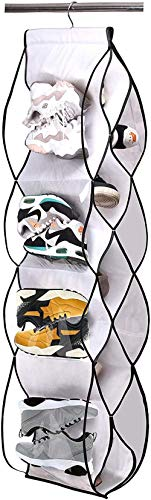 ZXCN Armario Organizador de Bolsos de guardarropa Colgante de Almacenamiento de Zapatos para Guardar Zapatos con 13 Bolsillos GrandesBlanco