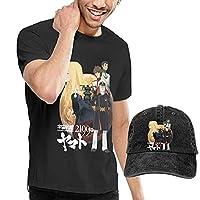 YIK Anime, Space Battleship Yamato V1 Star Blazers Poster For Men's Fashion Cotton Short Sleeve T Shirt Casual Tops And Cool Adjustable Baseball Hats Caps