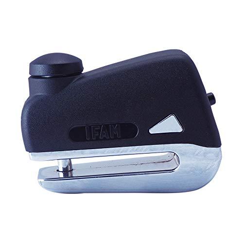 Ifam Grid75 (053020C) – Antirrobo para freno de disco de moto, pasador de acero endurecido de 5,5 mm de espesor, color cromo, 3 llaves, funda y cable recordatorio, 75 mm