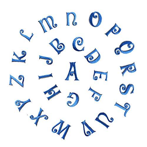 Parches bordados con letras del alfabeto, para planchar o coser, para mochilas, camisetas, vaqueros, bufandas, sombreros, ropa, manualidades, 25 mm, 26 unidades azul