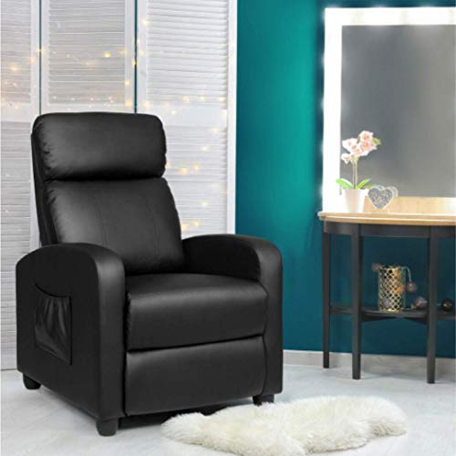 Adjustable Black Massage Recliner Chair Single Sofa PU Leather Padded Seat w/Footrest - Room Accent Armchair - 8 Massage Modes - Curved and Ergonomic -