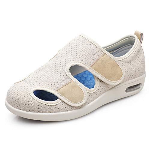 MLLM Zapatos para diabéticos,Zapatos diabéticos Ajustables, Zapatos de rehabilitación correctores Transpirables-Beige_45.5,Artritis Zapatos para diabéticos