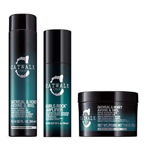 Kit TIGI Catwalk, 1 Shampoo Hotmeal and Honey, 1 Maschera Nutriente ed Intensiva & 1 Styling per Capelli Ricci Curls Rock Amplifier per Definizione e Controllo dei Ricci