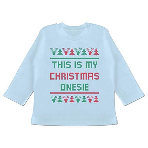 Weihnachten Baby - This is My Christmas Onesie - 3/6 Monate - Babyblau - Norwegermuster - BZ11 - Baby T-Shirt Langarm