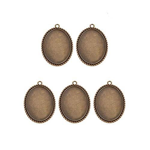 PandaHall Legierung Oval Perlen zum Kleben Verzierung Cabochon Fassung