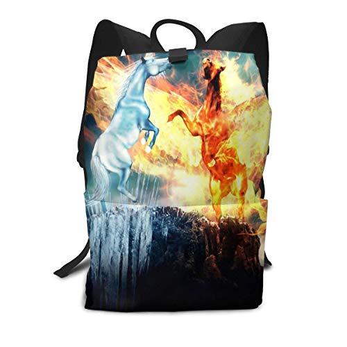 Strapazierfähiger Rucksack, 3D-Druck, Eispferdchen, Feuerpferdchen, Schultasche, Reiserucksack für Kinder und Erwachsene