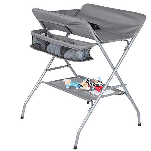 Table à Langer Pliable pour Bébé Table à Langer Multifonctionnelle avec Grand Espace de Rangement, Stable et Sécurité, Chambre Bébé