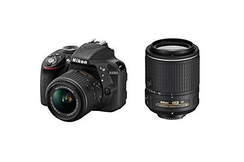 Nikon D3300 - Cámara réflex digital de 24.2 Mp (Pantalla 3', estabilizador óptico, vídeo Full HD), negro - kit cuerpo con objetivo Nikkor AF-S DX 18-55 mm f:3.5 VR II