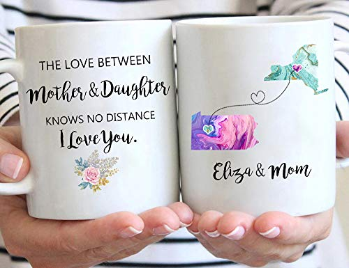 Personalized Long Distance State Coffee Mug, Customized States Relationship & Name Gift Mugs for Mom Dad Daughter Son Best Friend Grandma on Mother's Day, Father's Day, Birthday 11 or 15 Oz