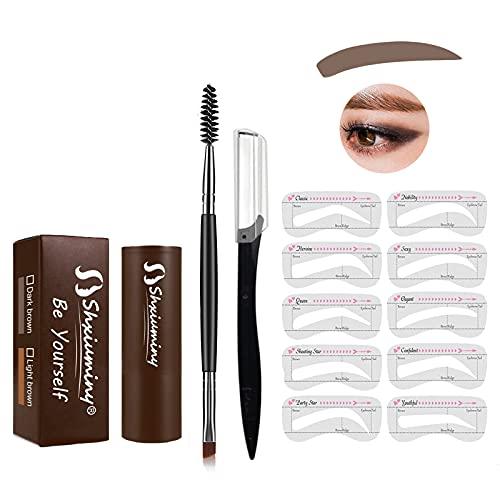 Augenbrauen Stempel Wiederverwendbares Makeup Brauenpuder Augenbrauenstempel Kit Augenbrauenstempel Geeignet für Frauen Brauenformung Wasserdichtes Make up Kosmetikset