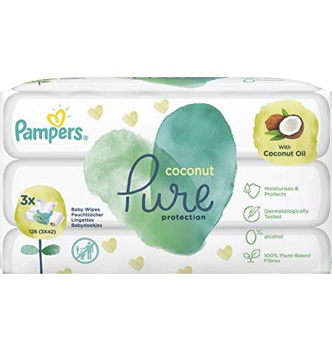 Pampers Coconut Pure Feuchttücher 3Packungen à 42Feuchttücher = 126Feuchttücher mit Kokosnussöl für eine sanfte Reinigung und angenehmen Schutz