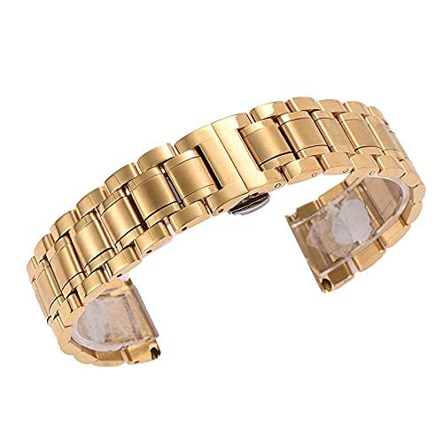 LCISCOUP Correa Reloj Pulsera de la Correa de la Correa de la Correa de Las Mujeres de los Hombres Correa de Acero Inoxidable 18mm 20mm 22mm 23mm 24mm (Band Color : Gold, Band Width : 22mm)