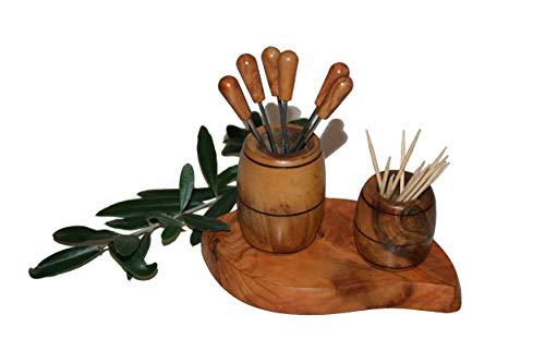 "\'Pique Olive und Zahnstocher \""Fass aus Holz Olivenholz"