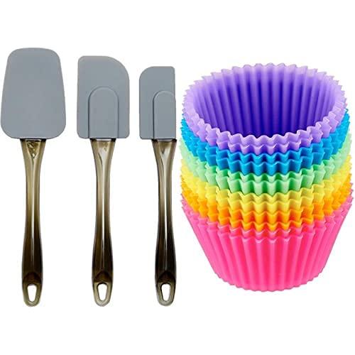 Amazon Basics - Pirottini da forno riutilizzabili, in silicone, confezione da 12 & - Spatole in silicone, set da 3 pezzi