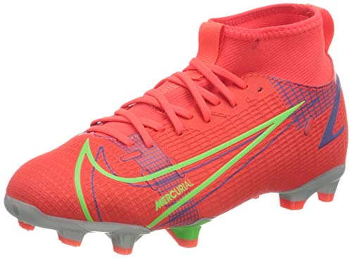 Nike Mercurial Superfly 8 Academy FG/MG Football Shoe, Bright Crimson/Metallic Silver-Indigo Burst-White-Rage Green, 38.5 EU