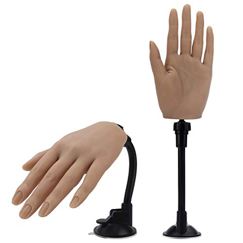 Silicone Practice Hand for Acrylic Nails with Bracket,Realistic Nail Practice Hand Stand, Flexible Bendable Nail Training Mannequin Hand for Nails Practice Nail Art Tools (Left Hand)