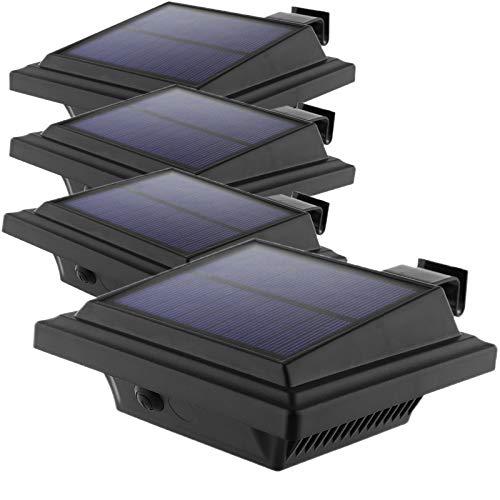LED Solar Dachrinnenleuchte, KEENZO Solarlampen für Außen, 25LEDs Solarlicht Wireless Außenwand Dekorationsleuchten, Auto ON/OFF, Schwarz,Warmweiß Licht (4er set)