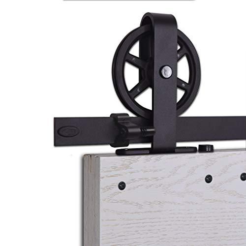 Herraje Puerta Corredera 200cm/6.6ft Negro, CCJH Riel Puerta Corredera Armario, Adecuado para 1 Puerta de 100 cm de Ancho [T Shape Big Wheel Hanger]