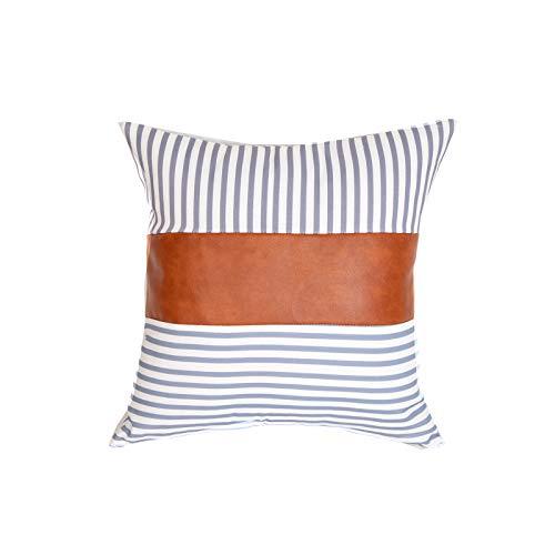 QXbecky Fundas de Cojines Funda de Almohada de Rayas de Lona Blanca de Cuero Negro + PU de Estilo Simple 1~4 Piezas Funda de Almohada Cuadrada de sofá 45cm