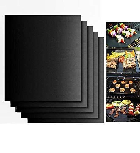 LINSUNG Antihaft-Grillmatten für Holzkohle-, Gas- oder Elektrogrill - hitzebeständig, wiederverwendbar und leicht zu reinigen 3er-Set BBQ-Grillmatte Black-3pcs
