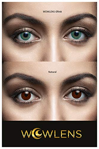 WOWLENS Sehr stark deckende und natürliche grüne Kontaktlinsen farbig BEVERLY HILLS GREEN + Behälter I 1 Paar (2 Stück) I DIA 14.00 I 0.00 Dioptrien I ohne Stärke