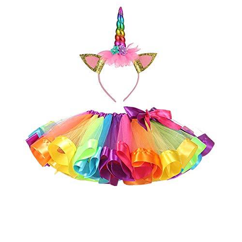 DIXIUZA Disfraz para Niñas Diadema Unicornio Floral con Oreja y Falda Tutú Vestido de Arco Iris Disfraz