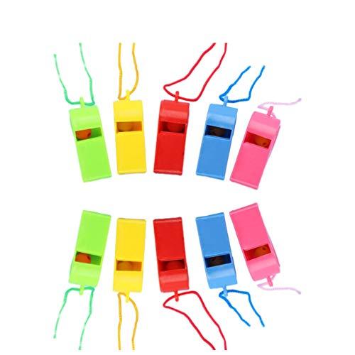 STOBOK Fischietti di plastica fischi Colorati rifornimento di Carburante fischietti arbitri fischietti-24 Pezzi (Colore Casuale)