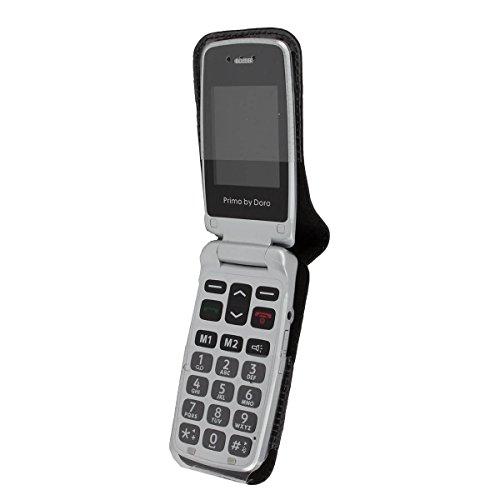 caseroxx Hülle Ledertasche mit Gürtelclip für Doro Primo 405 aus Echtleder, Tasche mit Gürtelclip & Sichtfenster in schwarz