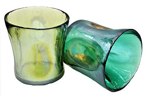 YALOS Set Coppia Bicchieri 2 Colori Misti Murano Collection Happy Drink Bicchieri Acqua Vino Liquore ø mm.90 x h mm.90 Vetro di Murano Made in Italy (Verde m/Giallo ocra)