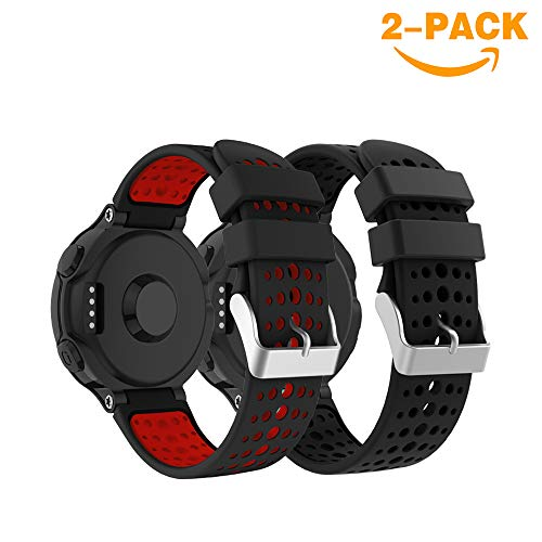 YaYuu Garmin Forerunner 235 Correa de Reloj, Banda de Reemplazo Silicona Suave Sports Pulsera para Forerunner 235/220/230/620/630/735XT Smart Watch (B, Negro+Negro-Rojo)