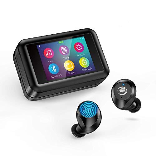 Auriculares inalámbricos Bluetooth 5.0 con Reproductor, Pantalla Táctil LCD estéreo HD Mini Auriculares Bluetooth movil con micrófono Impermeable IPX7 para Android, iOS, TV