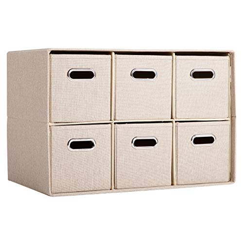 BirdRock Home Cream Linen Cube Organizer Shelf with 6 Storage Bins – Strong Durable Foldable Shelf – Kid Toy Clothes Towels Cubby – Collapsible Bedroom Fabric Shelves and Cubes