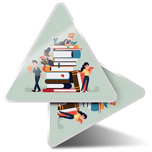 2 pegatinas triangulares de 10 cm – Colorido Biblioteca Estudiante Divertido Calcomanías para Portátiles, Tabletas, Equipaje, Reserva de Chatarra Frigoríficos #14819