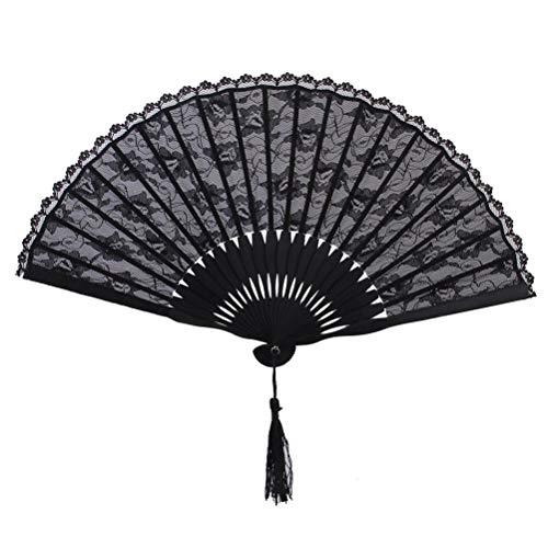 PIXNOR FaltbHandfächer aus Spitze Fächer aus Spitze Spanische viktorianischen Hand Fan für Hochzeitsfeier (schwarz)