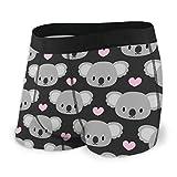 BathWang Herren Boxershorts mit süßen Koalas und rosa Herzen Gr. X-Large, Schwarz