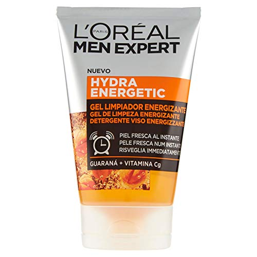 Men Expert Detergente Viso Energizzante in Gel Hydra Energetic, Deterge, Energizza, Risveglia Immediatamente la Pelle, con Estratto di Guaranà e Vitamina C, 100 ml