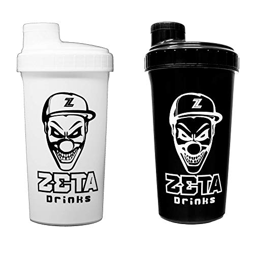 ZETA DRINKS Shaker Classic Pack 2 Botella de agua mezcladora de bebidas energéticas y de proteínas Con tapa antigoteo 700ml